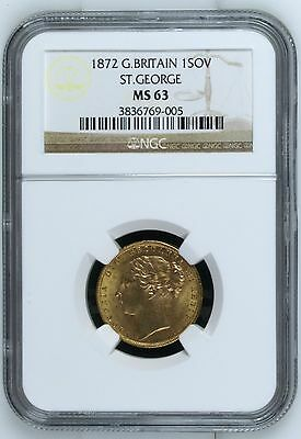 1872 NGC MS63 Great Britain Gold Sovereign - 0.2354 ozt.