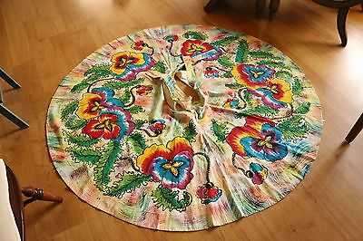 Vintage Hand Painted Mexican Circle Skirt- Floral Pattern with Sequin Details!