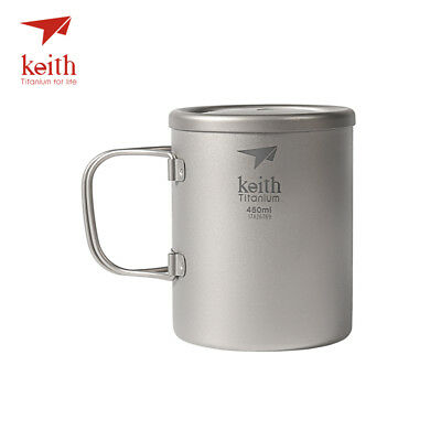 Keith Ti3343 New Double-wall Titanium Mug Camping Cup Water Cup 450ml