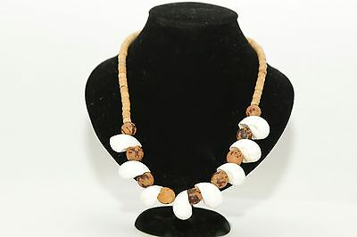 Gorgeous vintage shell necklace hand made with wooden beads and seeds