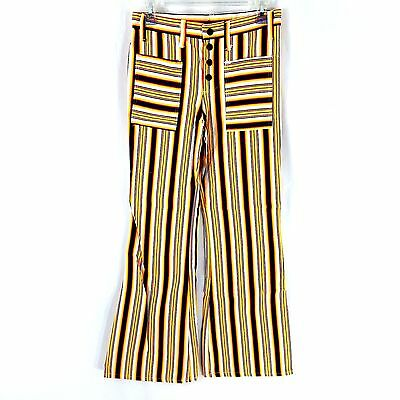 "VTG Striped Flare Pants Waist 28"" Kids Children 1970s Slacks Wide Leg Cotton"