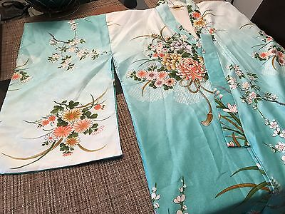 Authentic Japanese aqua floral polyester light weight floor length kimono Japan
