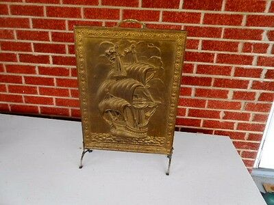 Antique 19th Century 3 D Brass Ship Footed Picture-Ornate~Nautical Decor~UNIQUE