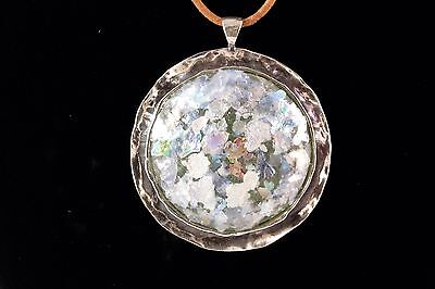 """Noa Zuman, Ancient Roman Glass Medallion, 2""""x2"""" in Size, 20"""" Leather Chain"""