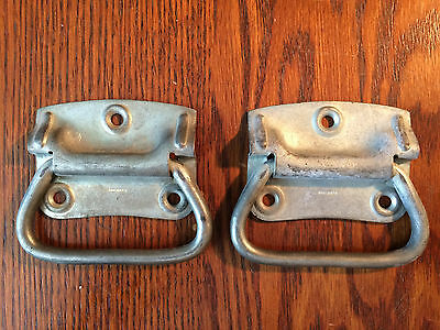 """Vintage pair tool chest drop handle pulls 2 3/4"""" steel cabin trunk box  shabby"""