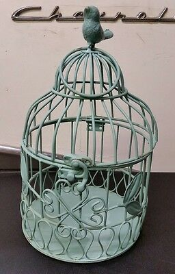 Turquoise Painted Metal Decorative Birdcage Home Decor Shabby Chic Free Shipping