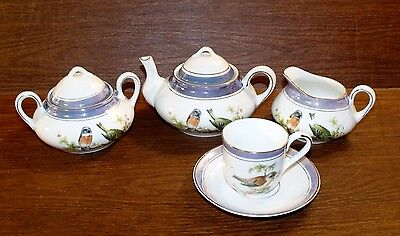 Antique Bavaria 7 pc LUSTERWARE TEA SET Birds