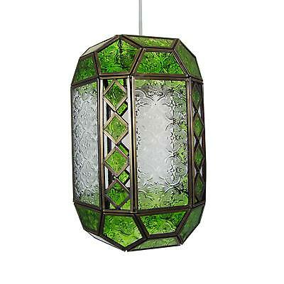 Green and Clear Patterned Glass Pendant Light Shade by Loxton Lighting