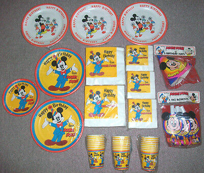 Mickey Mouse Happy Birthday Lot Vintage Walt Disney Production New Plates Cups +