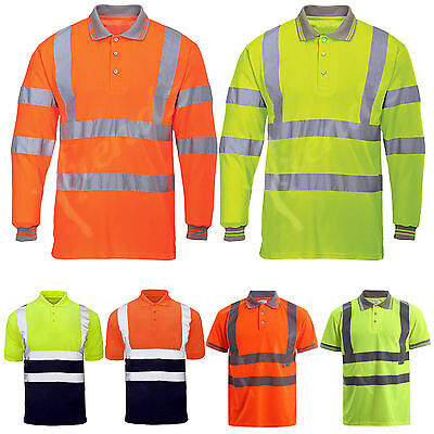 Hi Vis High Viz Visibility Short long Sleeve Safety Work Polo T Shirt S TO 5XL