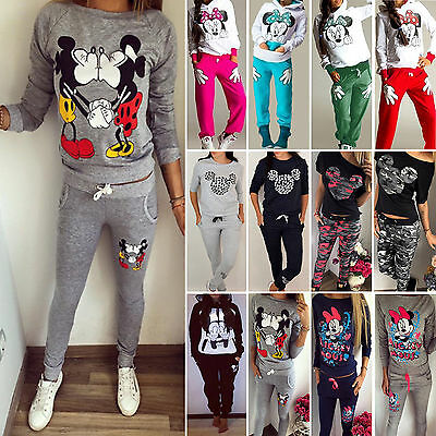 Mickey Minnie 2Pcs Women Tracksuit Hoodies Tops+Pants Set Sport Wear Casual Suit