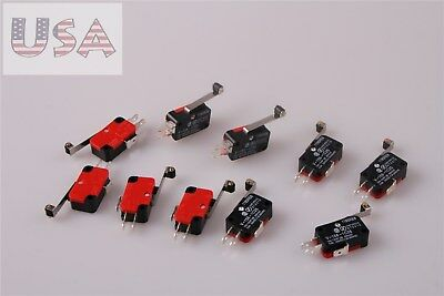 10Pcs V-156-1C25 Micro Limit Switch Long Hinge Snap Action Roller Tip Lever