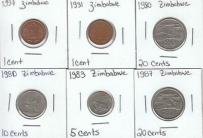Zimbabwe: Collection of 6 Different Circulation Coins