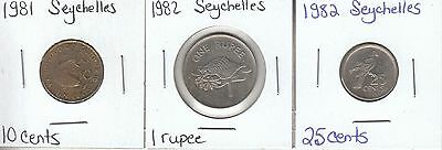 Seychelles: Collection of 3 Different Circulation Coins