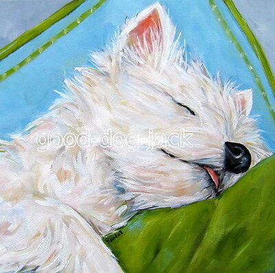 """West Highland Terrier WESTIE MATTED SQUARE PRINT  """"ICE CREAM DREAMS """" RANDALL"""