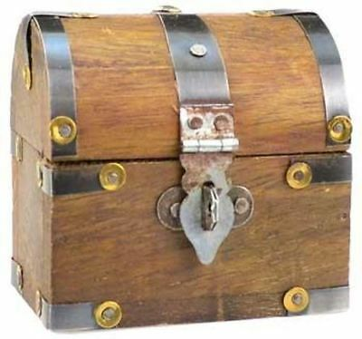 "Dome Chest 3"" X 3"" Antique Old Style Wooden Treasure Chest Box"