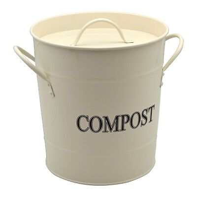 Harbour Housewares Metal Garden / Greenhouse Compost Bin - Cream. Free Delivery