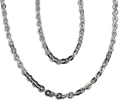 """10k solid white gold(1.5mm)Open cable shinny chain(up to 40""""inch)"""