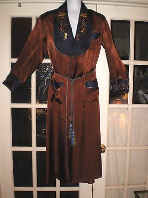 Old Japanese Chocolate Colored Smoking Robe/Jacket w/Embroidered Dragons Sz XL