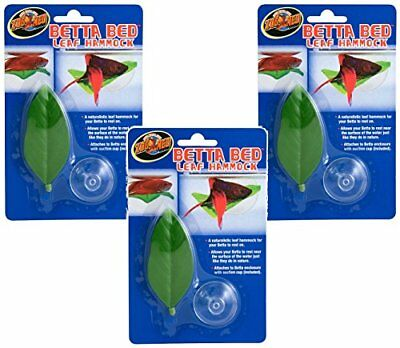 NEW 3 PACK !!! OF Zoo Med Betta Bed LEAF HAMMOCK ZooMED Fish Aquariam Decoration