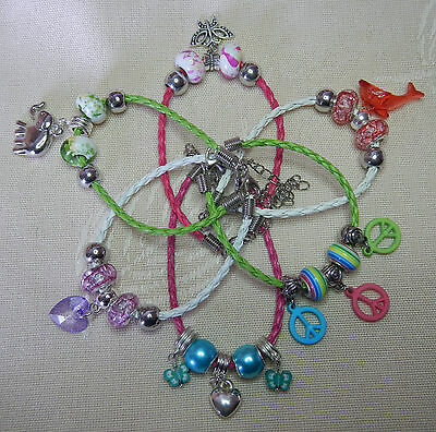 6 girls charm bracelets party gift- heart elephant butterfly dolphin peace beads