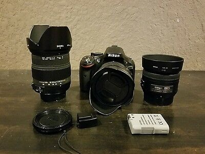 Nikon d5200 24.1mp US Version 3 Lenses Sigma 2.8 18-50mm and Nikon 35 50mm 1.8
