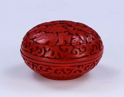 A Chinese Antique Red Cinnabar Lacquer Lidded Case Blooming Flowers