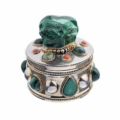 Signed Gilt Silver Box with Malachite and Coral
