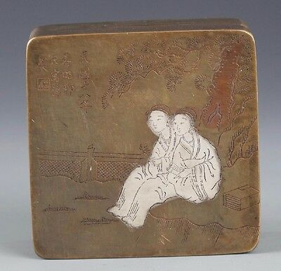 Antique Chinese Story Carved Bronze Traveling Ink Box