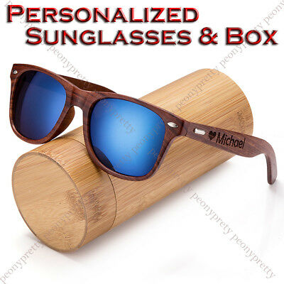 NEW Personalised Engraving Walnut Wood Mirrored UV400 Sunglasses Groomsmen Gift