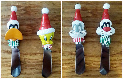 Looney Tunes Set of 4 Holiday Cheese Spreaders - Bugs, Daffy, Sylvester, Tweety