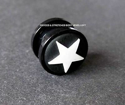 18mm Ear Plug Black Silicone back ground with White raised Silicone Star