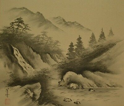 Landscape Hanging Scroll Antique Japanese Painting Japan Art ink Picture Pic aab