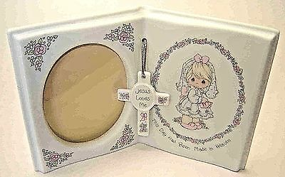 """PRECIOUS MOMENTS HOLY COMMUNION PICTURE FRAME -""""JESUS LOVES ME"""" by ENESCO - 1991"""