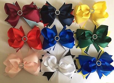 """New Grosgrain Ribbon 5"""" Summer Party School Stacked Bow Hair Clip with Buckle"""