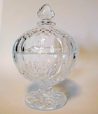 Crystal Glass Candy Bowl Dish with Lid Vintage