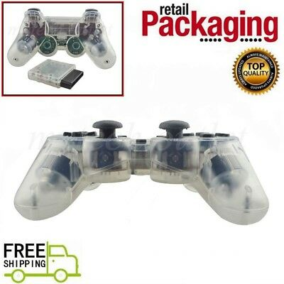 New Clear White Wireless 2.4G Twin Shock Game Controller For PS2 Joystick Joypad