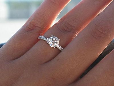 2ct Solid Sterling SILVER STAMPED 925 Sparkling SIMULATED Created DIAMOND RING