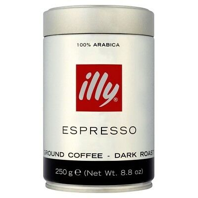 Illy Espresso Caffe Macinato Dark Ground Roasted Coffee (250g). Best Price