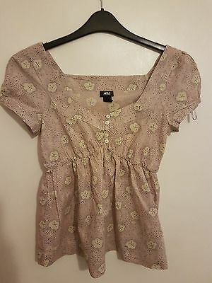 Ref490- H&M Ladies Womens Girls Light Pink & White Cap Sleeved Floral Top Size 8