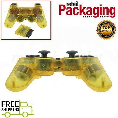 New Clear Yellow Wireless 2.4G Twin Shock Controller For PS2 Joystick Joypad