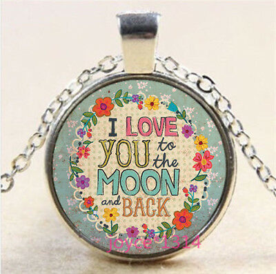 I LOVE YOU TO THE MOON AND BACK Tibetan silver Glass Chain Pendant Necklace#3842