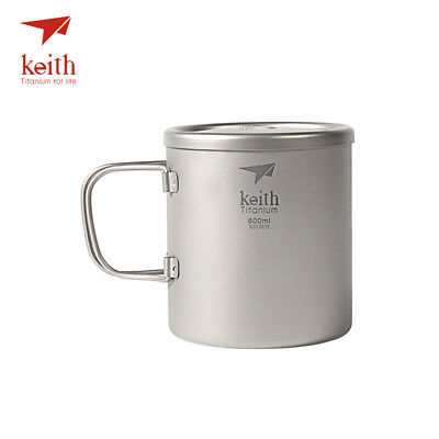 Keith Ti3357 New Double-wall Titanium Mug Camping Cup Water Cup 600ml