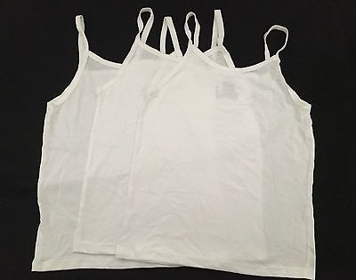 New Hanes Toddler Girls Cotton Cami Tank Undershirts Set of 3 White Open Package