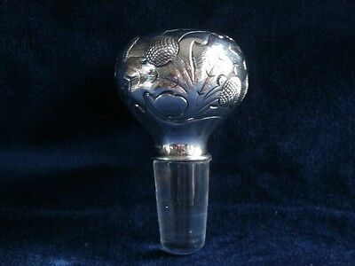 "Gorham Sterling Silver & Glass ""thistle"" Decanter Stopper:  Unique & Beautiful"