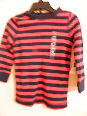 NWT baby Gap boy long sleeve blue and red striped thermal shirt; size 18-24m