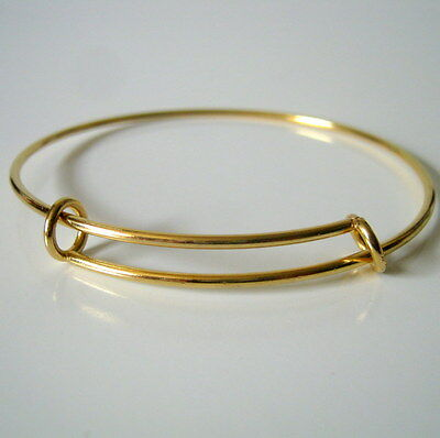 Adjustable Bangle Gold Plated Stainless Steel-Jewelry Making Supplies-Bangle