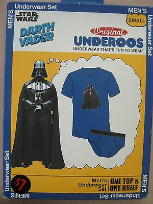 Star Wars Darth Vader Underoos Men's Small Shirt Underwear Blue Briefs Set New