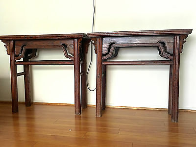 Chinese Antique Wood Pair Wine or Painting Table