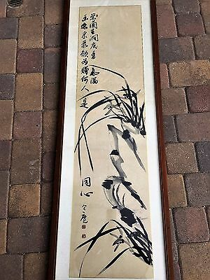 Antique Chinese Original Hand Painted Black Ink On Paper Painting Signed Framed